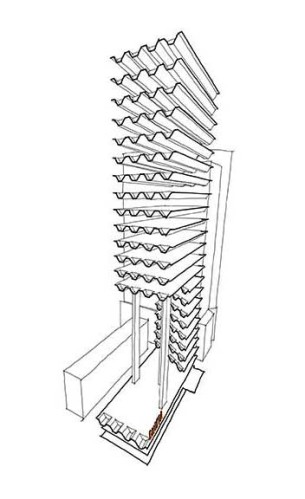 Theoretical concept for a tower on top of the modernist Emilia pavilion that is currently occupied by Museum of Modern Art in Warsaw