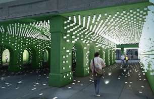 Public Art& Lighting installation a viaduct in Detroit's New Center TechTown district.